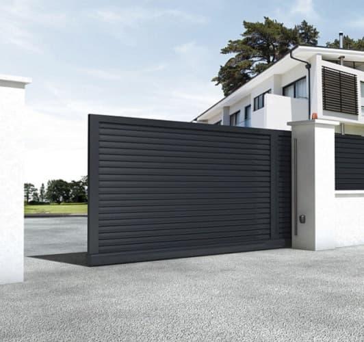 откатные ворота для домов и коттеджей фото