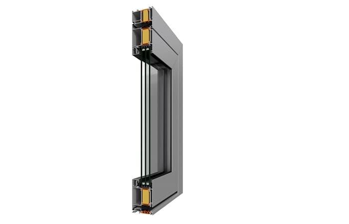 Двери Alumil SD 77 с вклеенным стеклопакетом фото