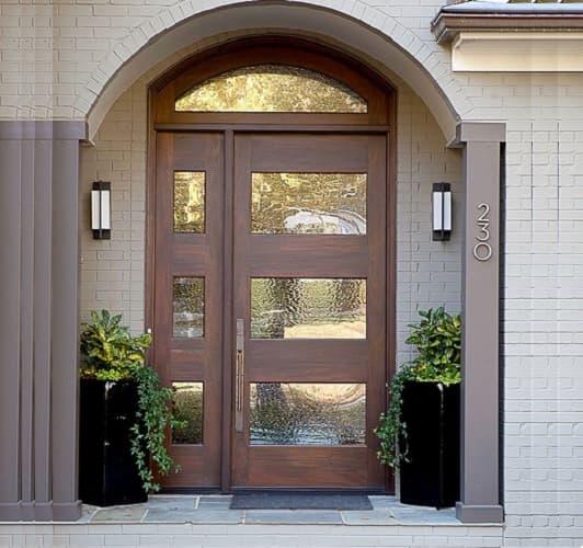 Металлопластиковая дверь двустворчатая внешний вид фото, пример