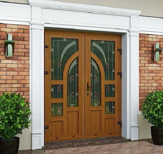 Ламинированная дверь с гнутым импостом 1 фото, пример