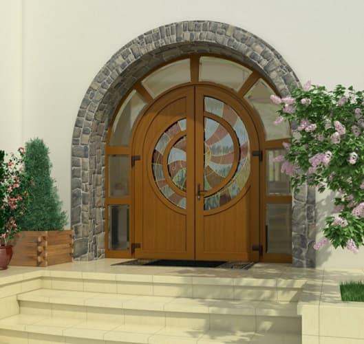 Ламинированная ПВХ дверь с гнутым импостом 2 фото
