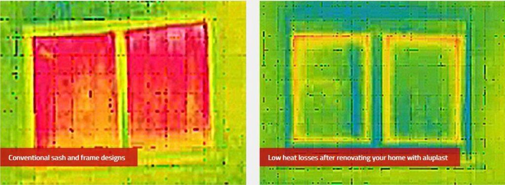Окна без энергосбережения и энергосберегающие окна Aluplast через тепловизор
